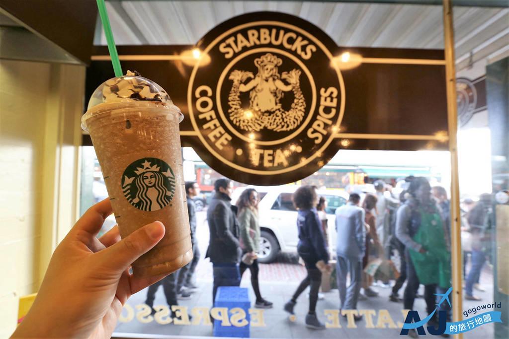 (西雅圖景點)世界第一間星巴克咖啡館 & 星巴克復刻店 第一代LOGO杯讓人失心瘋 派克市場必遊景點
